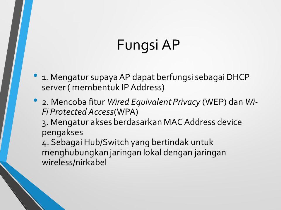 Fungsi AP 1. Mengatur supaya AP dapat berfungsi sebagai DHCP server ( membentuk IP Address)