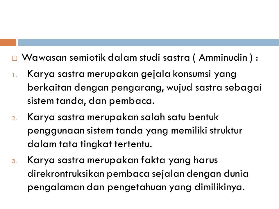 Wawasan semiotik dalam studi sastra ( Amminudin ) :