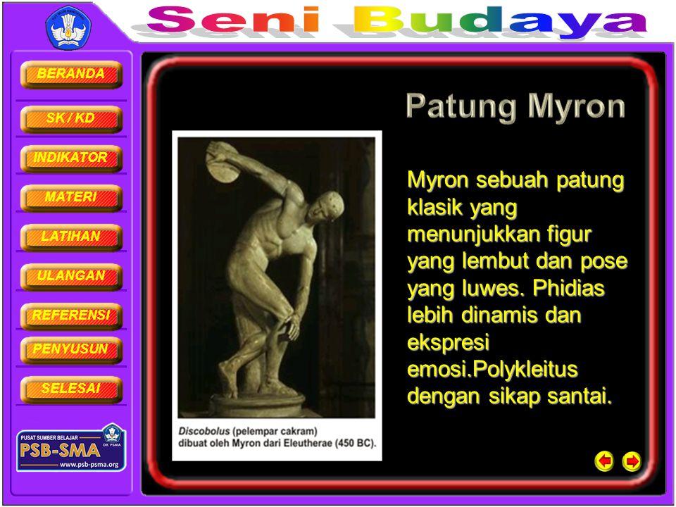 Myron sebuah patung klasik yang menunjukkan figur yang lembut dan pose yang luwes.