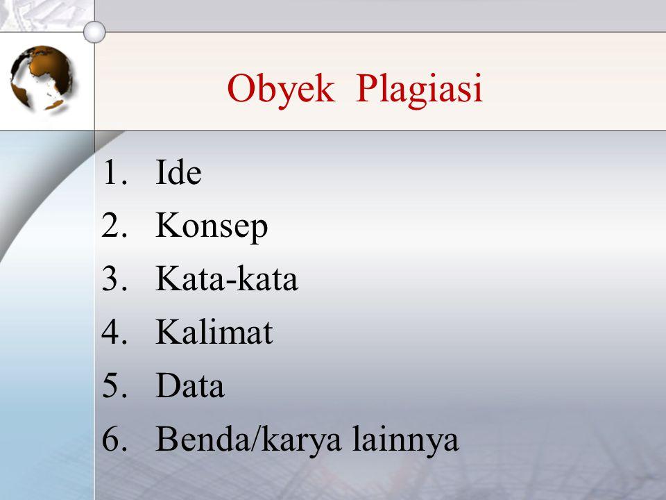 Obyek Plagiasi Ide Konsep Kata-kata Kalimat Data Benda/karya lainnya