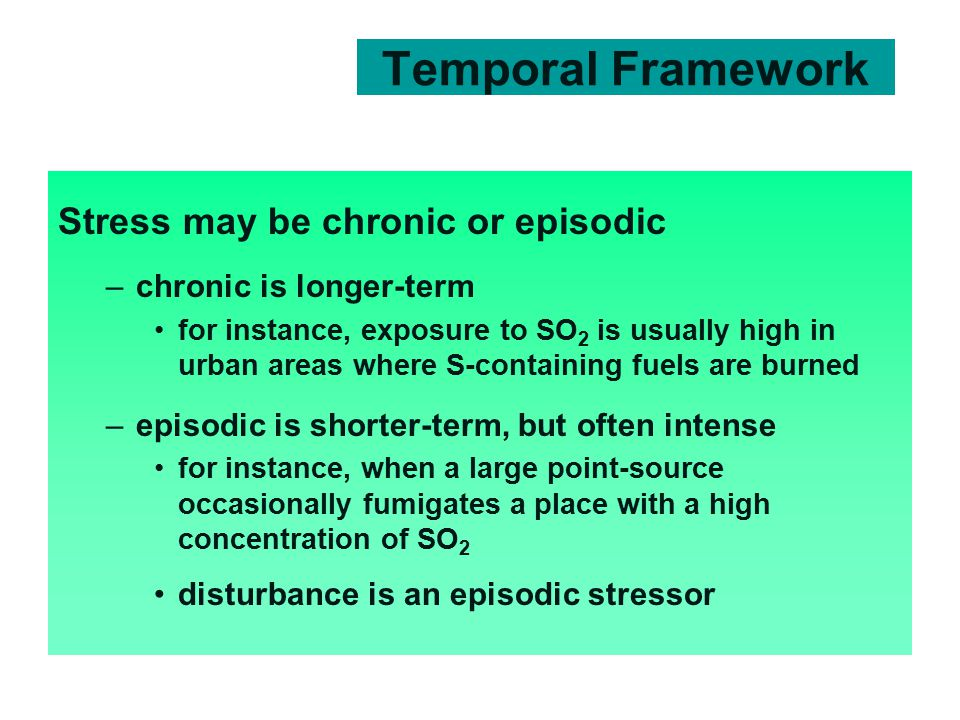 Temporal Framework Stress may be chronic or episodic