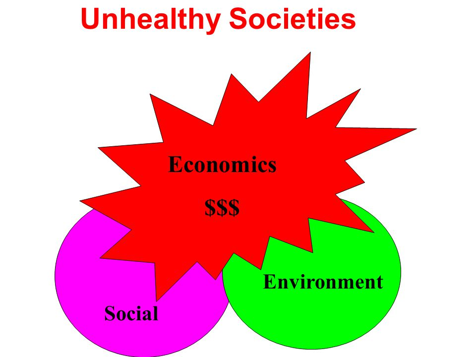 Unhealthy Societies Economics $$$ Environment Social