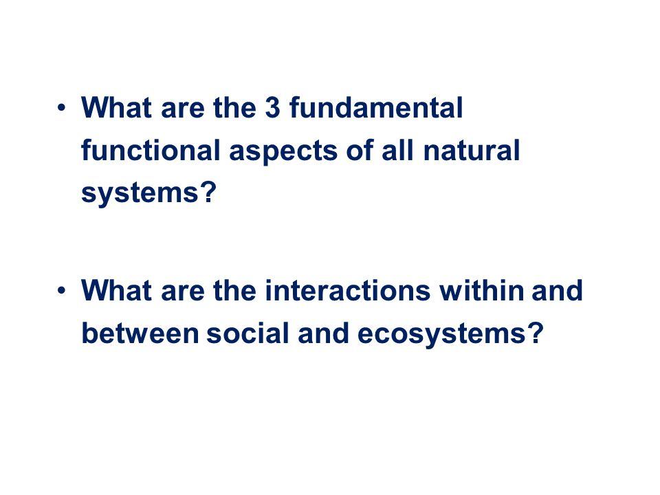 What are the 3 fundamental functional aspects of all natural systems