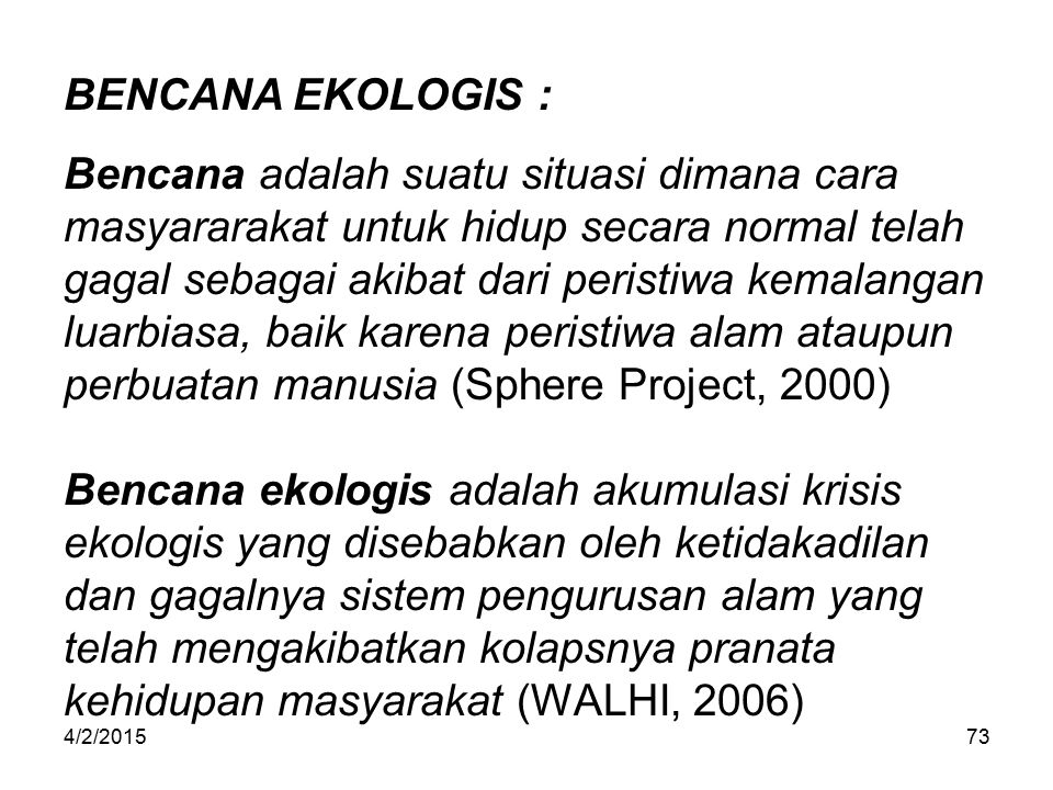 BENCANA EKOLOGIS :