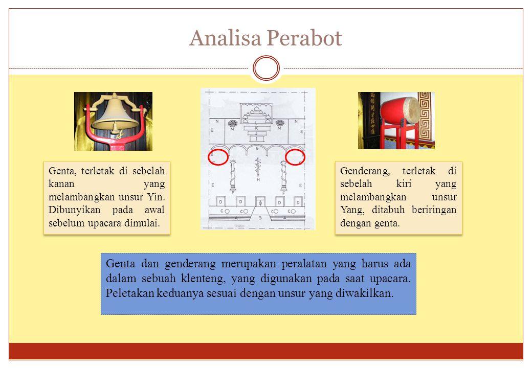 Analisa Perabot Genta, terletak di sebelah kanan yang melambangkan unsur Yin. Dibunyikan pada awal sebelum upacara dimulai.