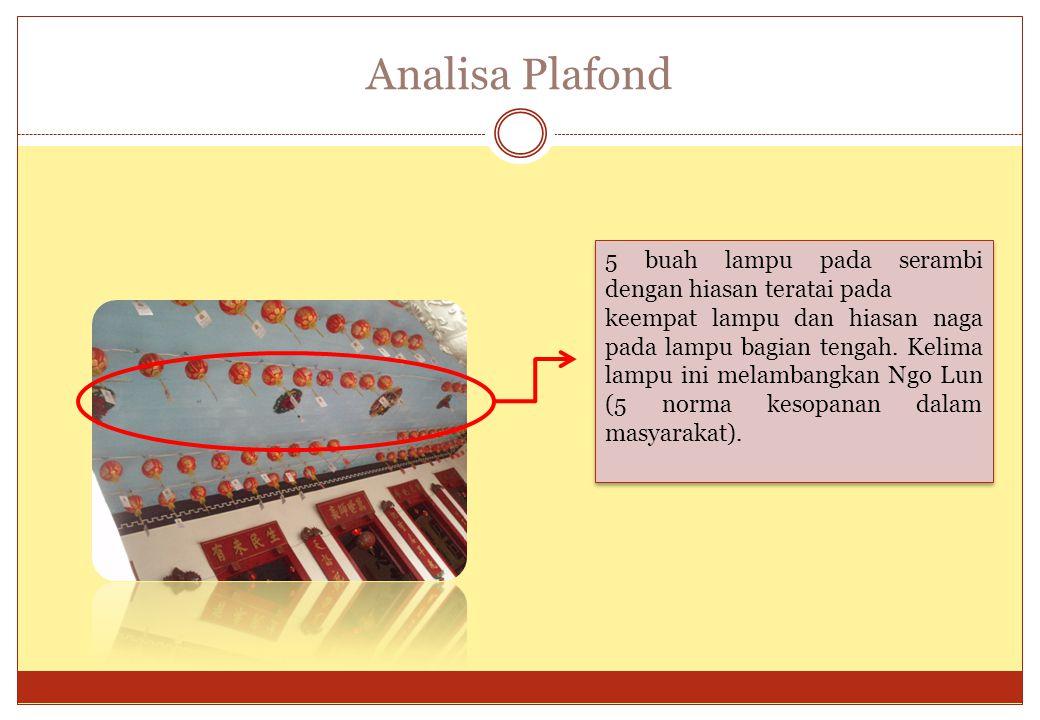 Analisa Plafond 5 buah lampu pada serambi dengan hiasan teratai pada