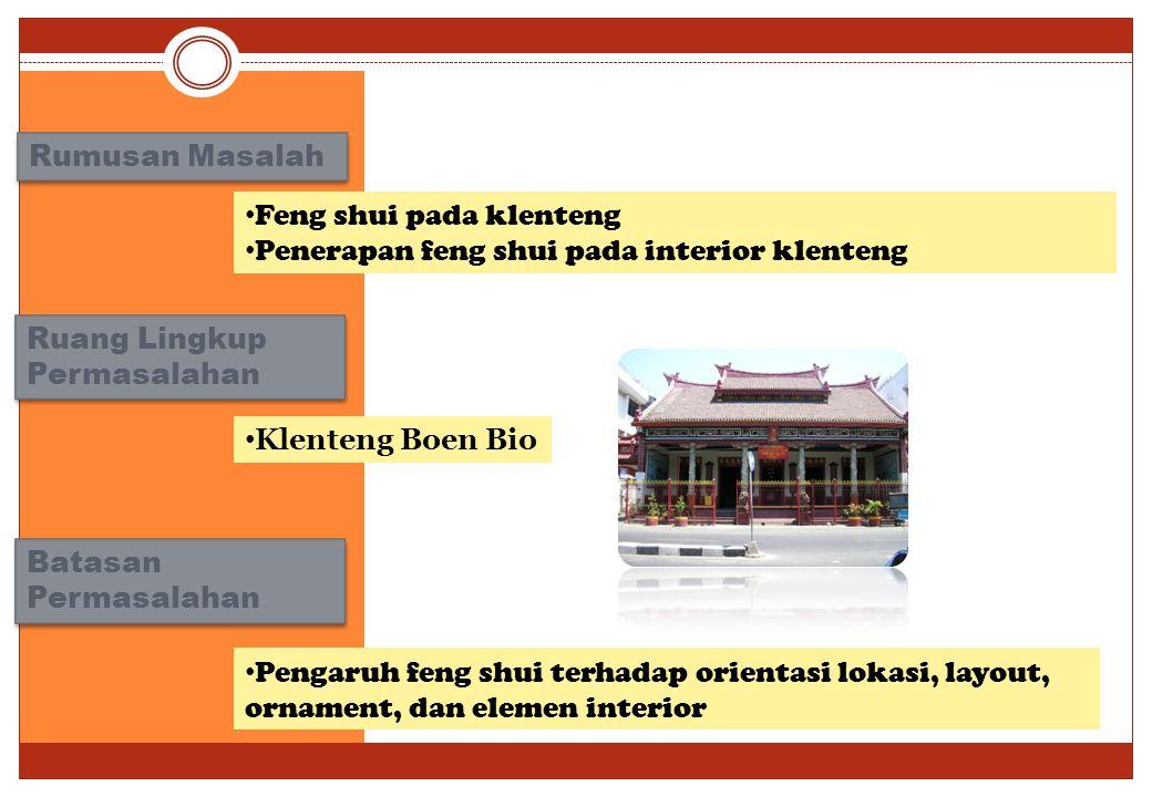 Rumusan Masalah Feng shui pada klenteng. Penerapan feng shui pada interior klenteng. Ruang Lingkup Permasalahan.