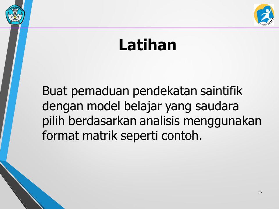 Latihan Buat pemaduan pendekatan saintifik dengan model belajar yang saudara pilih berdasarkan analisis menggunakan format matrik seperti contoh.