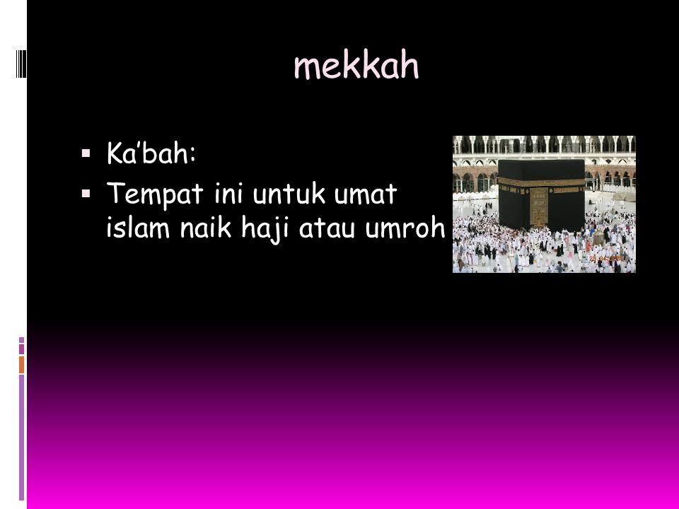 mekkah Ka'bah: Tempat ini untuk umat islam naik haji atau umroh.