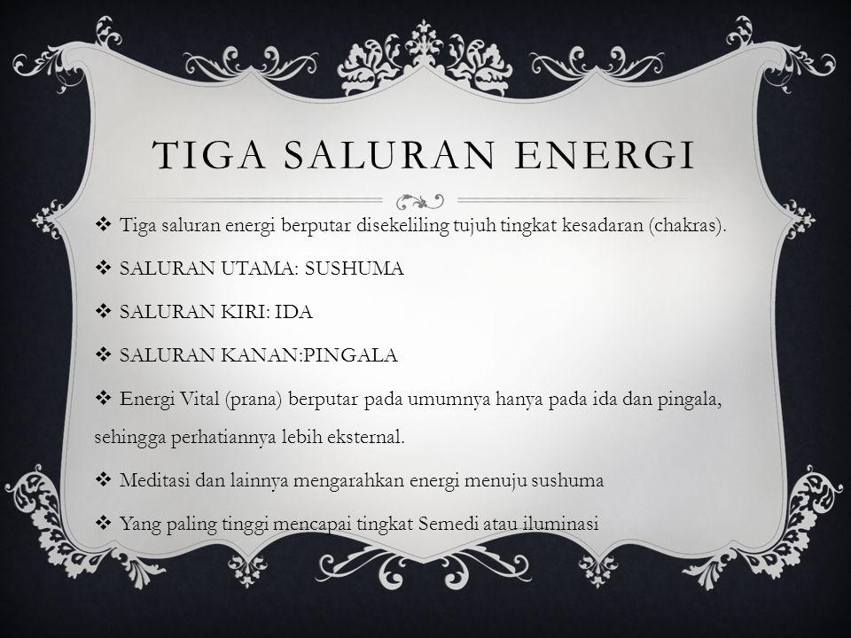 TIGA SALURAN ENERGI Tiga saluran energi berputar disekeliling tujuh tingkat kesadaran (chakras). SALURAN UTAMA: SUSHUMA.