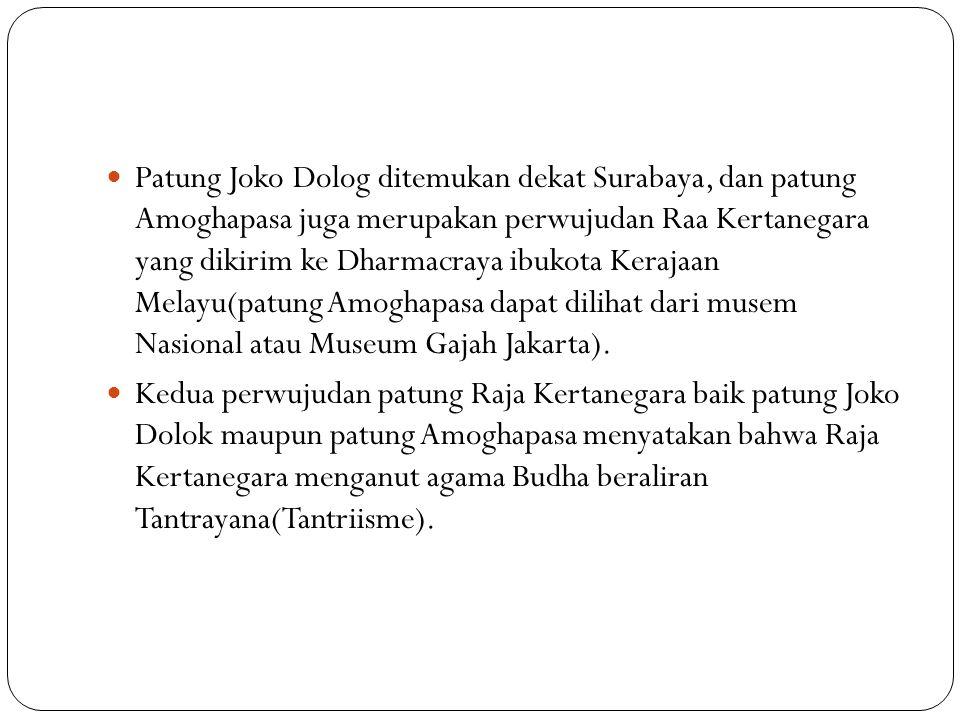Patung Joko Dolog ditemukan dekat Surabaya, dan patung Amoghapasa juga merupakan perwujudan Raa Kertanegara yang dikirim ke Dharmacraya ibukota Kerajaan Melayu(patung Amoghapasa dapat dilihat dari musem Nasional atau Museum Gajah Jakarta).