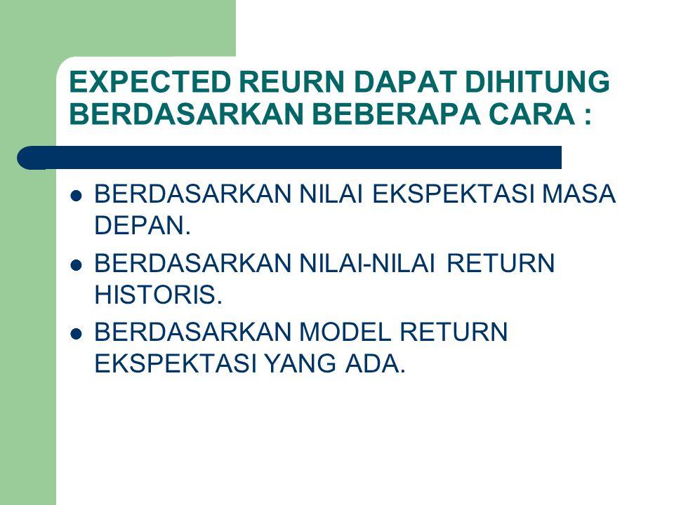 EXPECTED REURN DAPAT DIHITUNG BERDASARKAN BEBERAPA CARA :