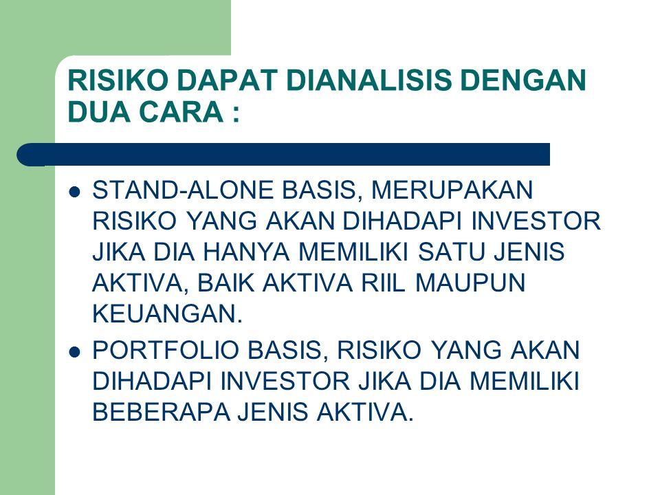 RISIKO DAPAT DIANALISIS DENGAN DUA CARA :
