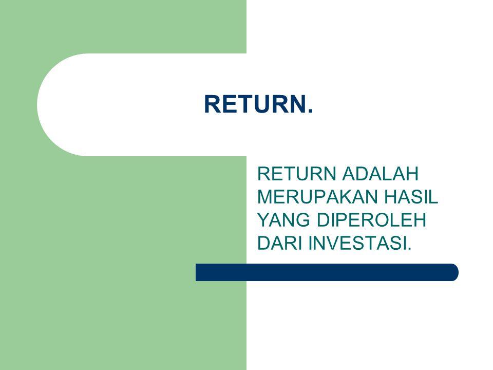 RETURN ADALAH MERUPAKAN HASIL YANG DIPEROLEH DARI INVESTASI.