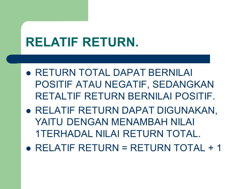 RELATIF RETURN. RETURN TOTAL DAPAT BERNILAI POSITIF ATAU NEGATIF, SEDANGKAN RETALTIF RETURN BERNILAI POSITIF.
