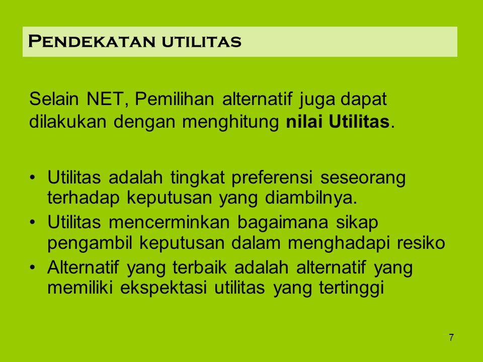 Pendekatan utilitas Selain NET, Pemilihan alternatif juga dapat dilakukan dengan menghitung nilai Utilitas.