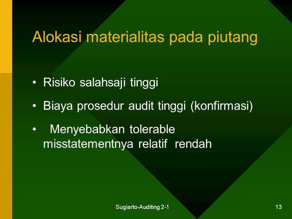 Alokasi materialitas pada piutang