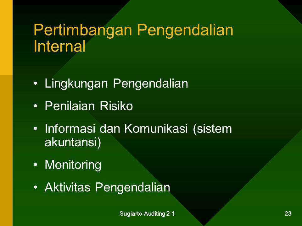 Pertimbangan Pengendalian Internal
