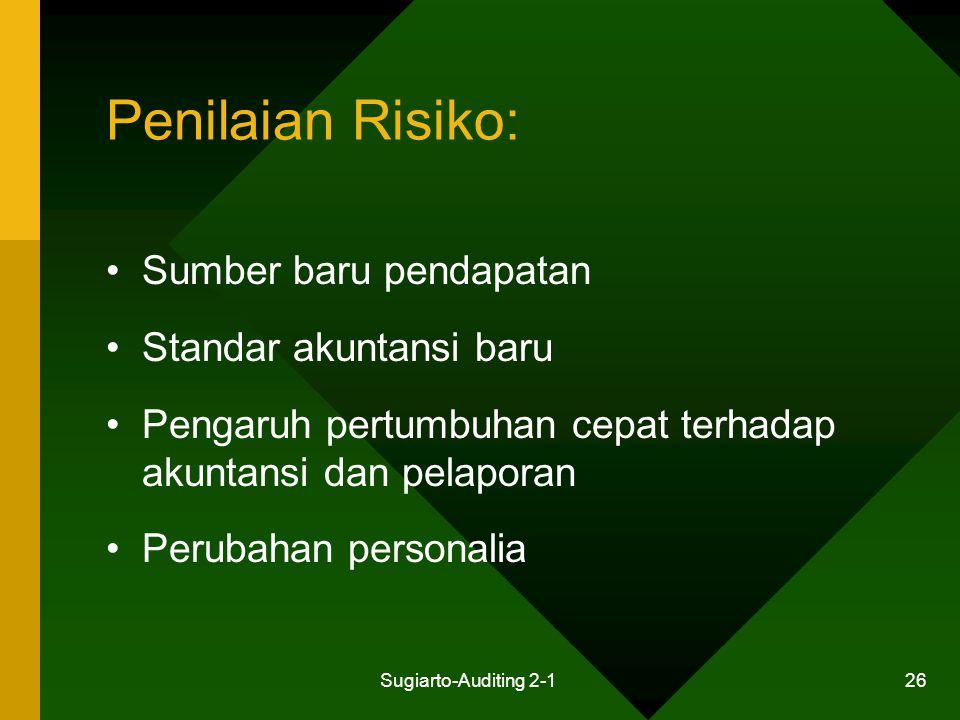 Penilaian Risiko: Sumber baru pendapatan Standar akuntansi baru