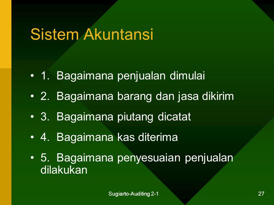 Sistem Akuntansi 1. Bagaimana penjualan dimulai