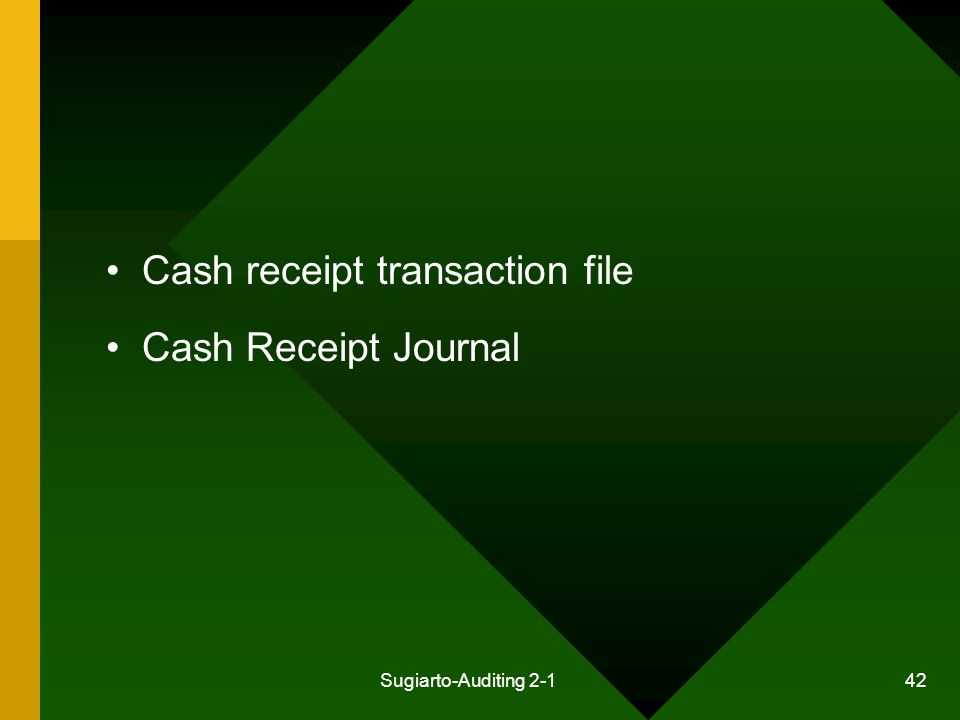 Cash receipt transaction file Cash Receipt Journal