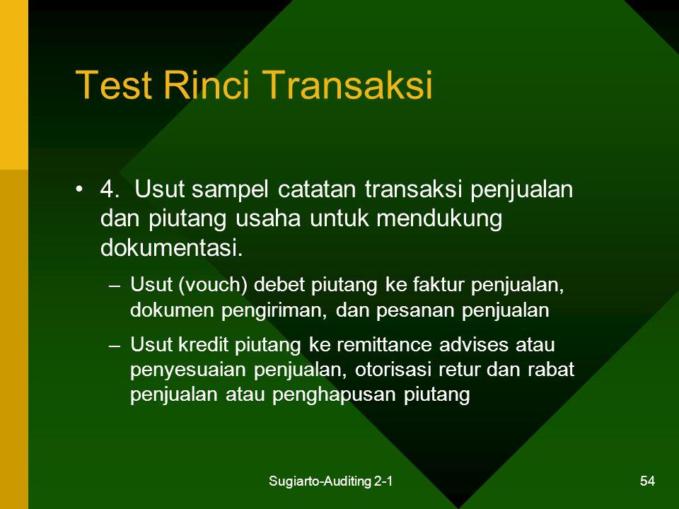 Test Rinci Transaksi 4. Usut sampel catatan transaksi penjualan dan piutang usaha untuk mendukung dokumentasi.