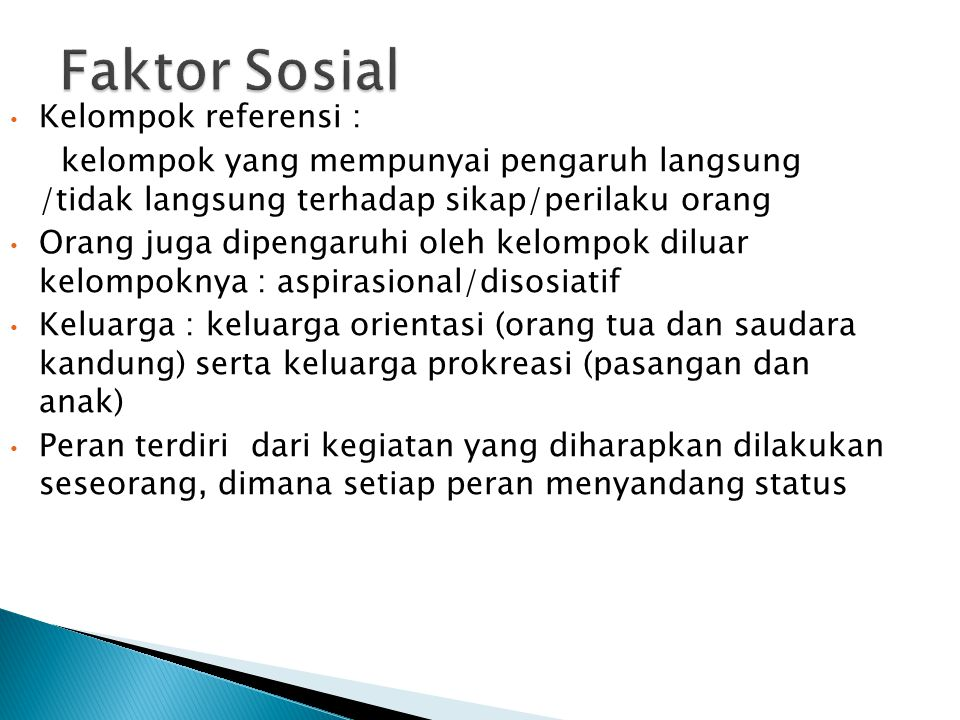 Faktor Sosial Kelompok referensi :