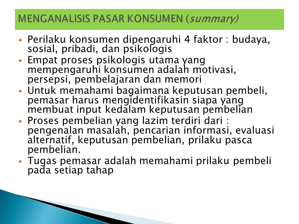 MENGANALISIS PASAR KONSUMEN (summary)