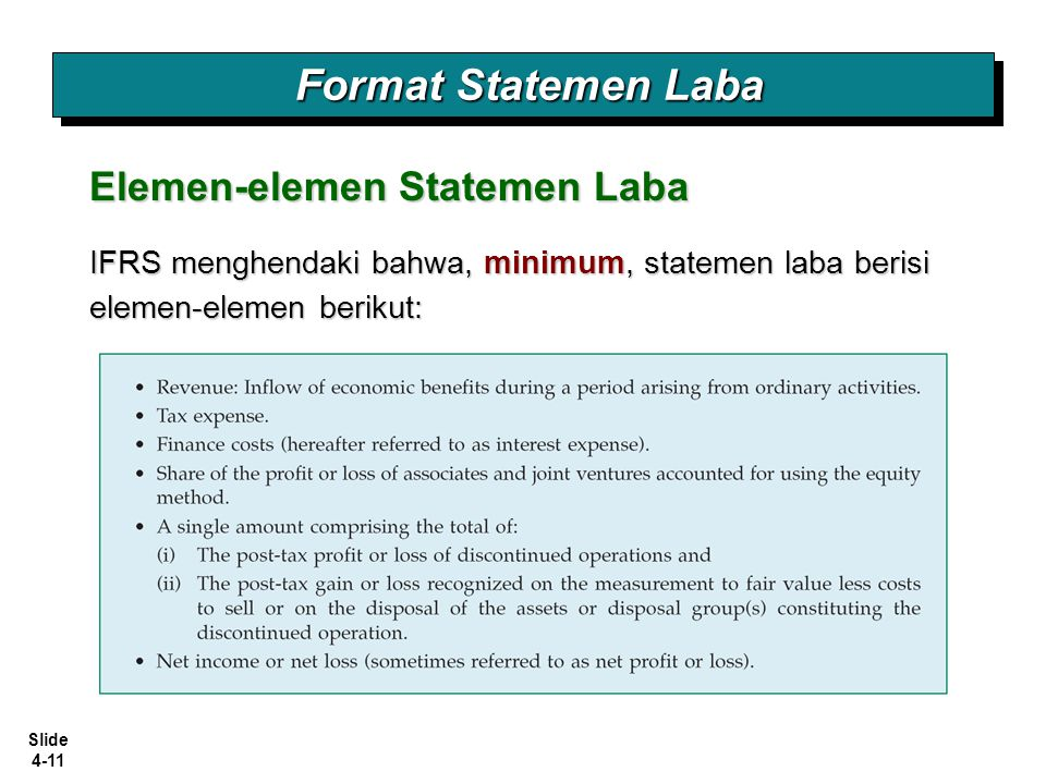 Format Statemen Laba Elemen-elemen Statemen Laba