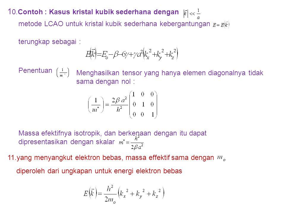 10.Contoh : Kasus kristal kubik sederhana dengan