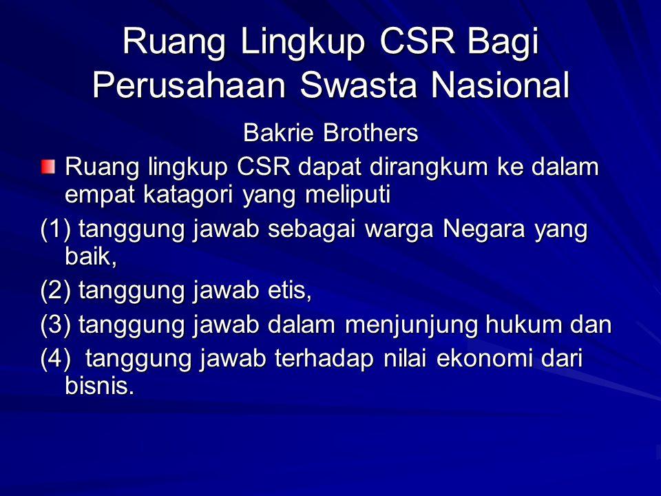 Ruang Lingkup CSR Bagi Perusahaan Swasta Nasional