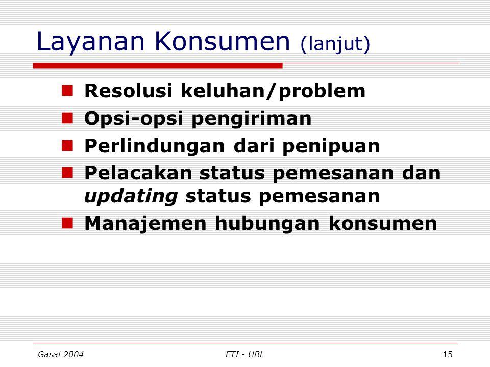 Layanan Konsumen (lanjut)