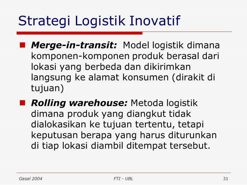 Strategi Logistik Inovatif