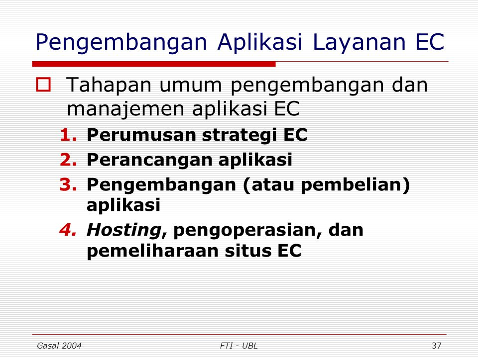 Pengembangan Aplikasi Layanan EC