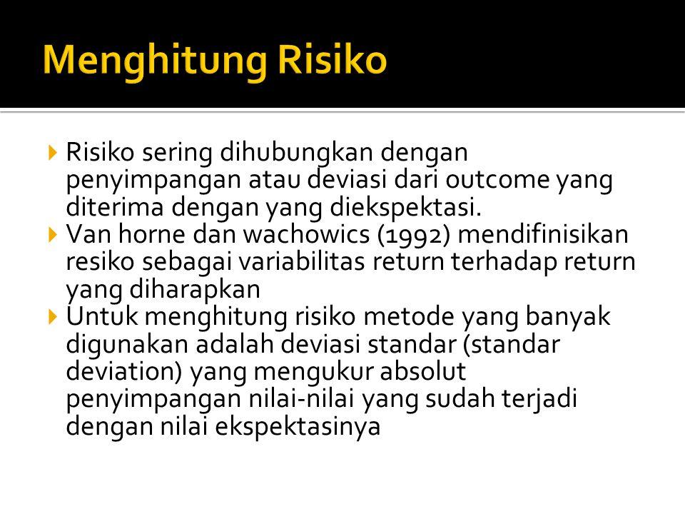 Menghitung Risiko Risiko sering dihubungkan dengan penyimpangan atau deviasi dari outcome yang diterima dengan yang diekspektasi.