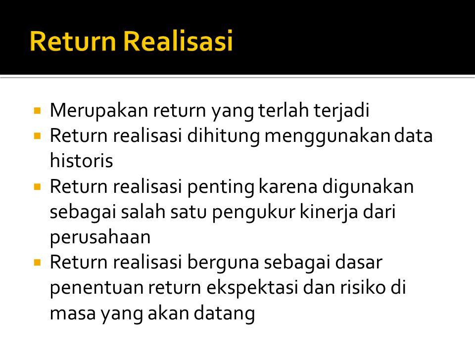 Return Realisasi Merupakan return yang terlah terjadi