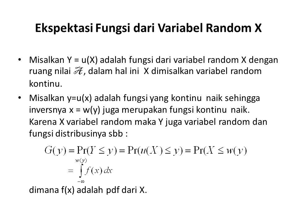 Ekspektasi Fungsi dari Variabel Random X