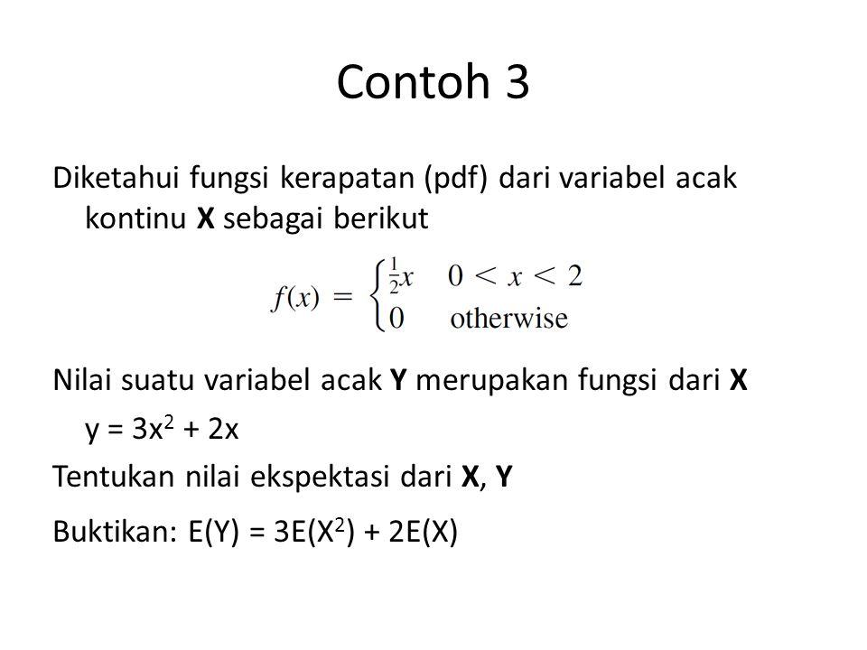 Contoh 3 Diketahui fungsi kerapatan (pdf) dari variabel acak kontinu X sebagai berikut. Nilai suatu variabel acak Y merupakan fungsi dari X.