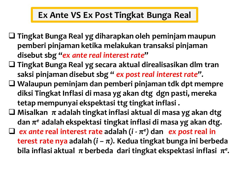Ex Ante VS Ex Post Tingkat Bunga Real
