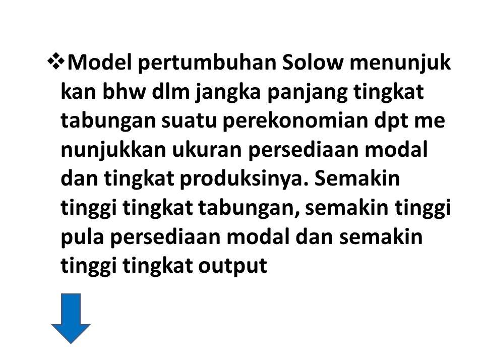 Model pertumbuhan Solow menunjuk kan bhw dlm jangka panjang tingkat tabungan suatu perekonomian dpt me nunjukkan ukuran persediaan modal dan tingkat produksinya.