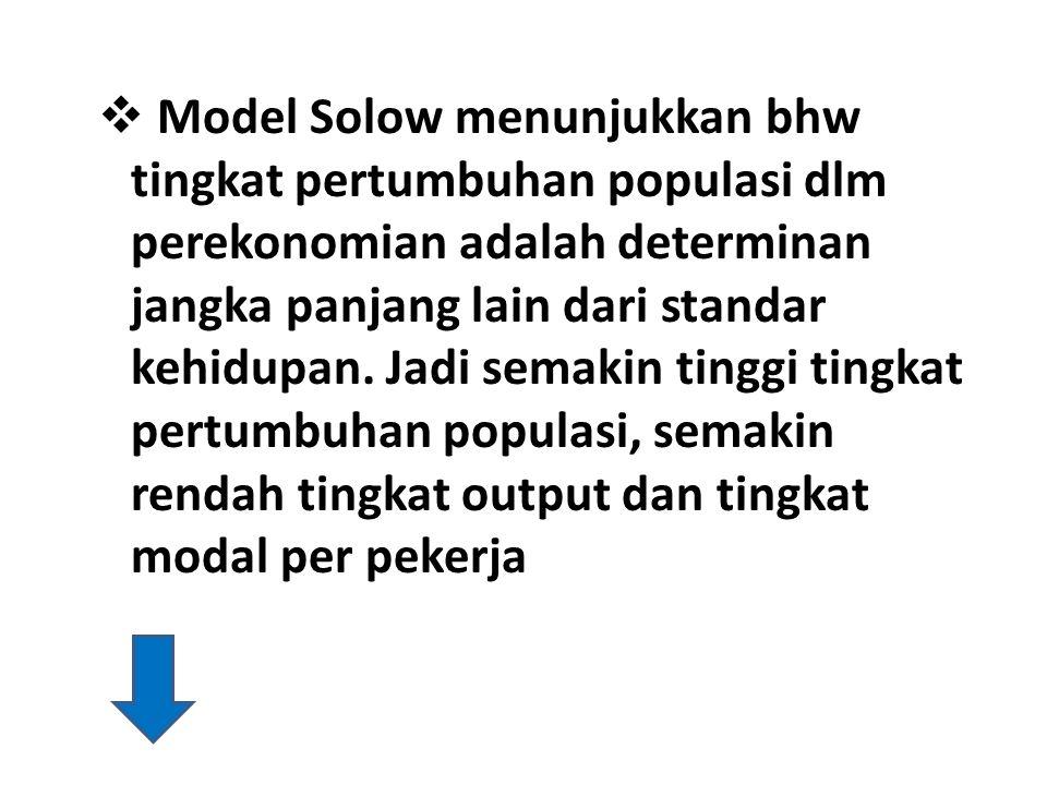 Model Solow menunjukkan bhw tingkat pertumbuhan populasi dlm perekonomian adalah determinan jangka panjang lain dari standar kehidupan.