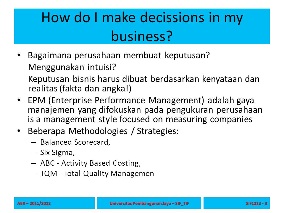 How do I make decissions in my business