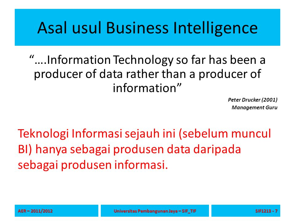 Asal usul Business Intelligence