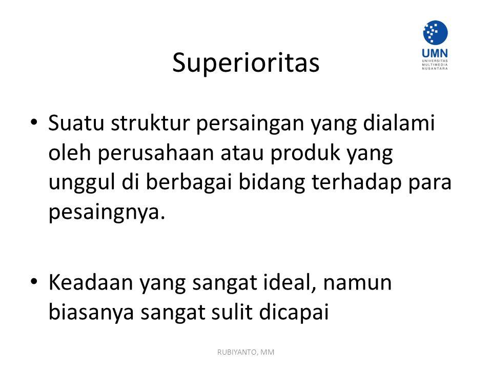 Superioritas Suatu struktur persaingan yang dialami oleh perusahaan atau produk yang unggul di berbagai bidang terhadap para pesaingnya.