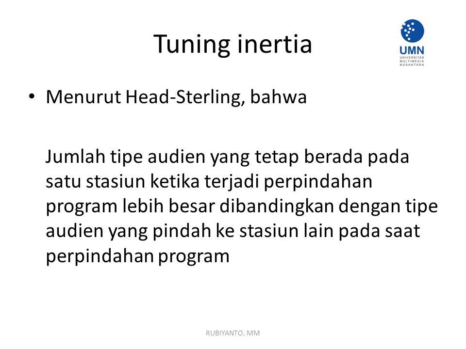 Tuning inertia Menurut Head-Sterling, bahwa