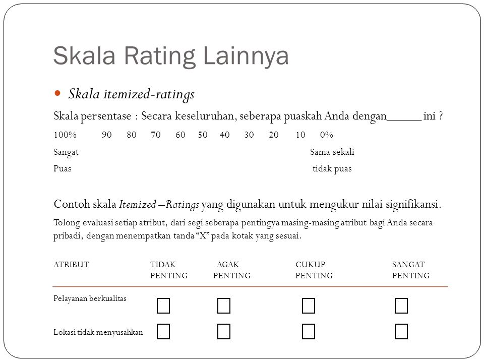 Skala Rating Lainnya Skala itemized-ratings