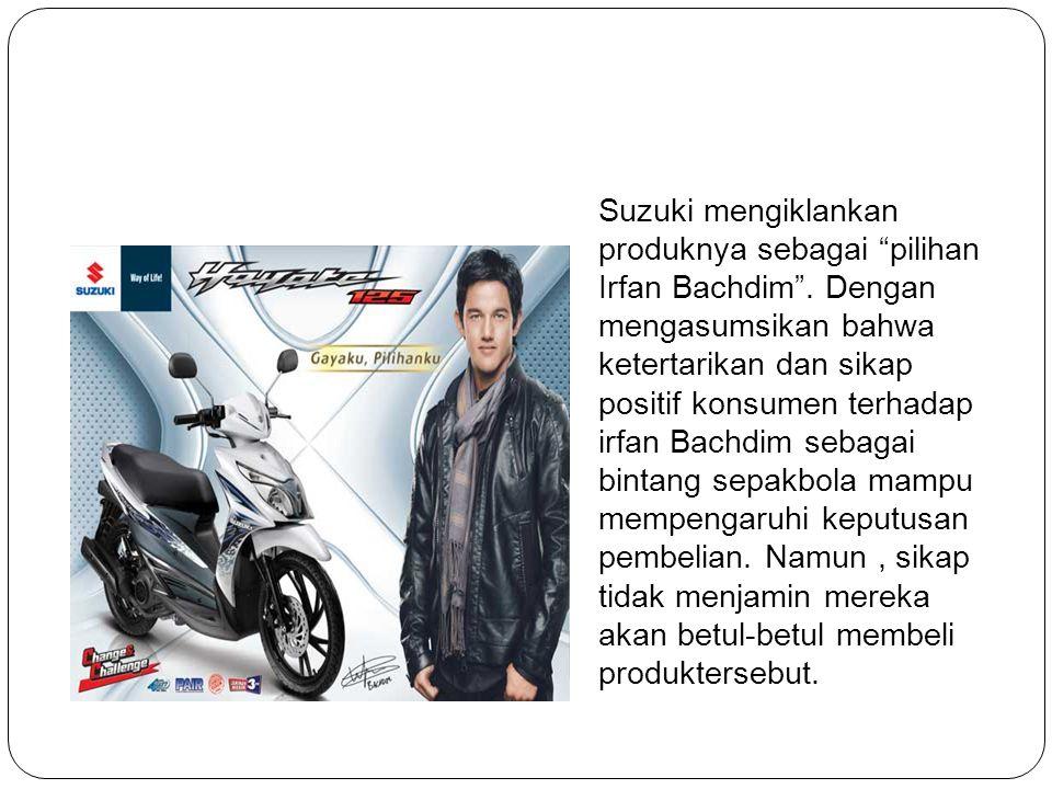 Suzuki mengiklankan produknya sebagai pilihan Irfan Bachdim