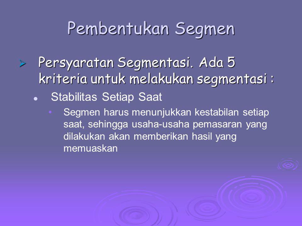 Pembentukan Segmen Persyaratan Segmentasi. Ada 5 kriteria untuk melakukan segmentasi : Stabilitas Setiap Saat.