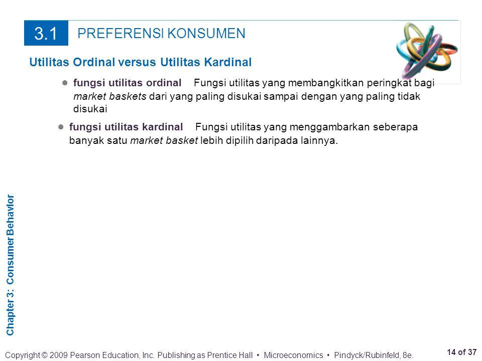 3.1 PREFERENSI KONSUMEN Utilitas Ordinal versus Utilitas Kardinal