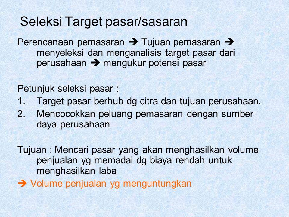 Seleksi Target pasar/sasaran